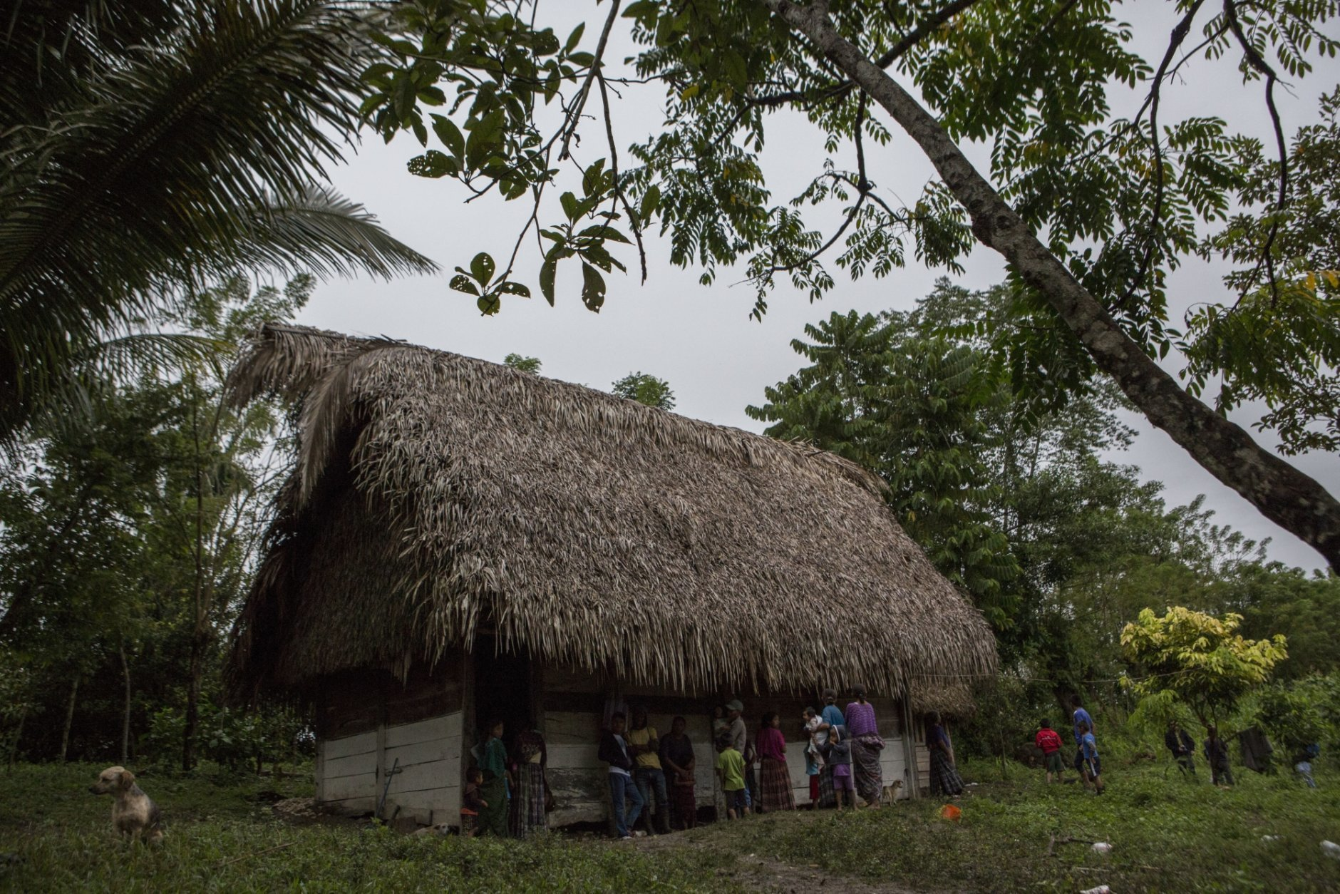 Neighbors gather around Claudia Maquin's house in Raxruha, Guatemala, on Saturday, Dec. 15, 2018. Her daughter, 7-year-old Jakelin Amei Rosmery Caal, used to sleep here with her parents and three siblings. The small wooden house has a straw roof, dirt floors, a few bedsheets and a fire pit for cooking. (AP Photo/Oliver de Ros)