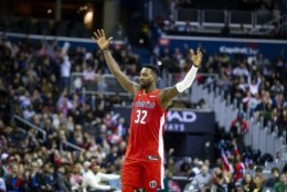 Washington Wizards forward Jeff Green (32) celebrates during the second half of an NBA basketball game against the Charlotte Hornets, Saturday, Dec. 29, 2018, in Washington. (AP Photo/Al Drago)