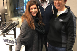 WTOP midday anchors Debra Feinstein and Mark Lewis with editor Judy Taub on Taub's last day, Dec. 21, 2018. (WTOP/Julia Ziegler)