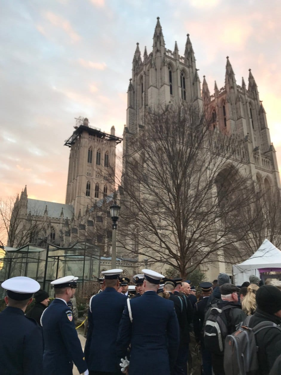 Final preparations underway Wednesday for George H.W. Bush's state funeral at Washington National Cathedral. (WTOP/Mitchell Miller)