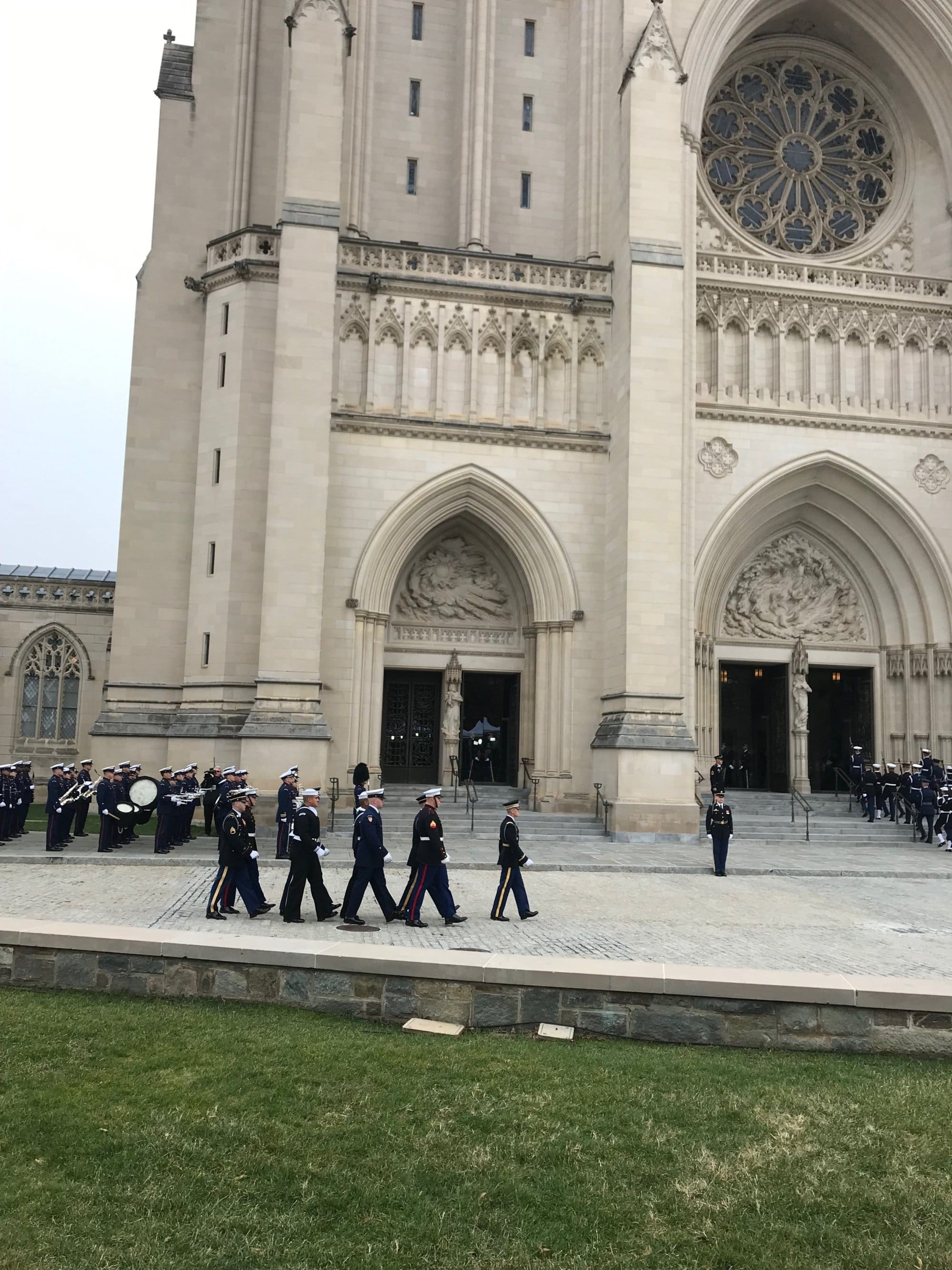 Military personnel get in place for the state funeral of former President George H.W. Bush. (WTOP/Mitchell Miller)