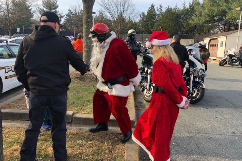 WATCH: With a police escort, Santa rolls out on his Harley for a Md. toy run