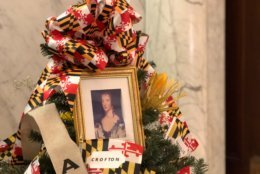 """Anne Arundel isn't just the name of a county in Maryland — it's the name of an English noblewoman who married Cecil Calvert, second Lord Baltimore. Her name is sometimes spelled """"Arundel."""" She's pictured here in an Anne Arundel County-themed Christmas tree on view at Maryland's State House in Annapolis, Md. (WTOP/Kate Ryan)"""