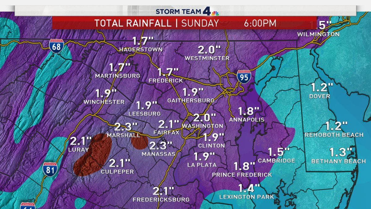 The total rainfall expected by the end of Sunday. (Courtesy NBC Washington)