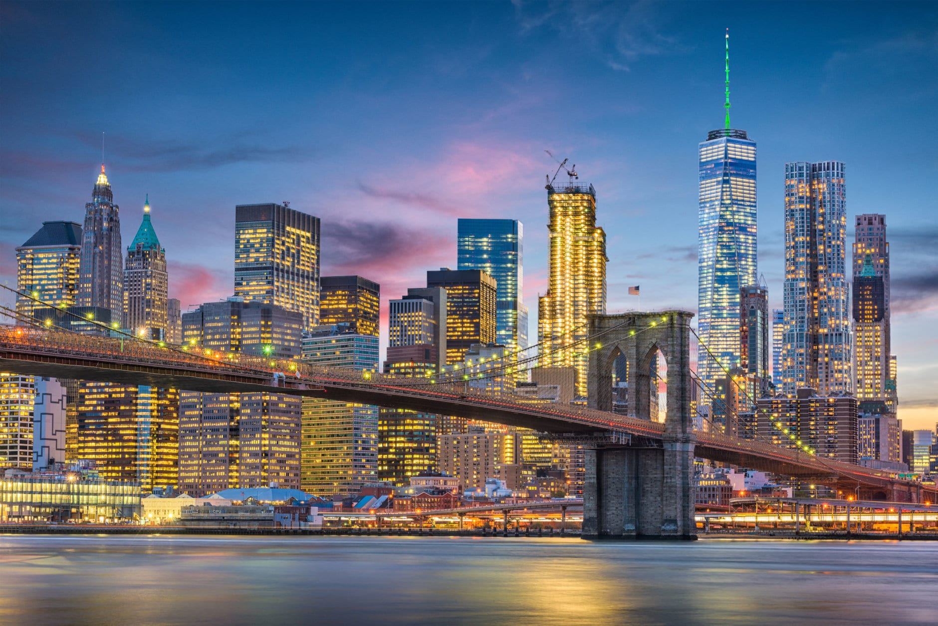 New York City, USA skyline on the East River with Brooklyn Bridge at dusk. (Getty Images/iStockphoto/Sean Pavone)