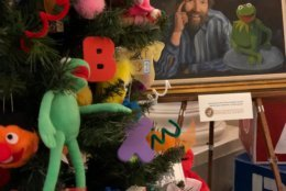 This Prince George's County-themed Christmas tree features the Muppets in a tribute to Jim Henson, who crested a sketch comedy show with puppets while at University of Maryland. (WTOP/Kate Ryan)