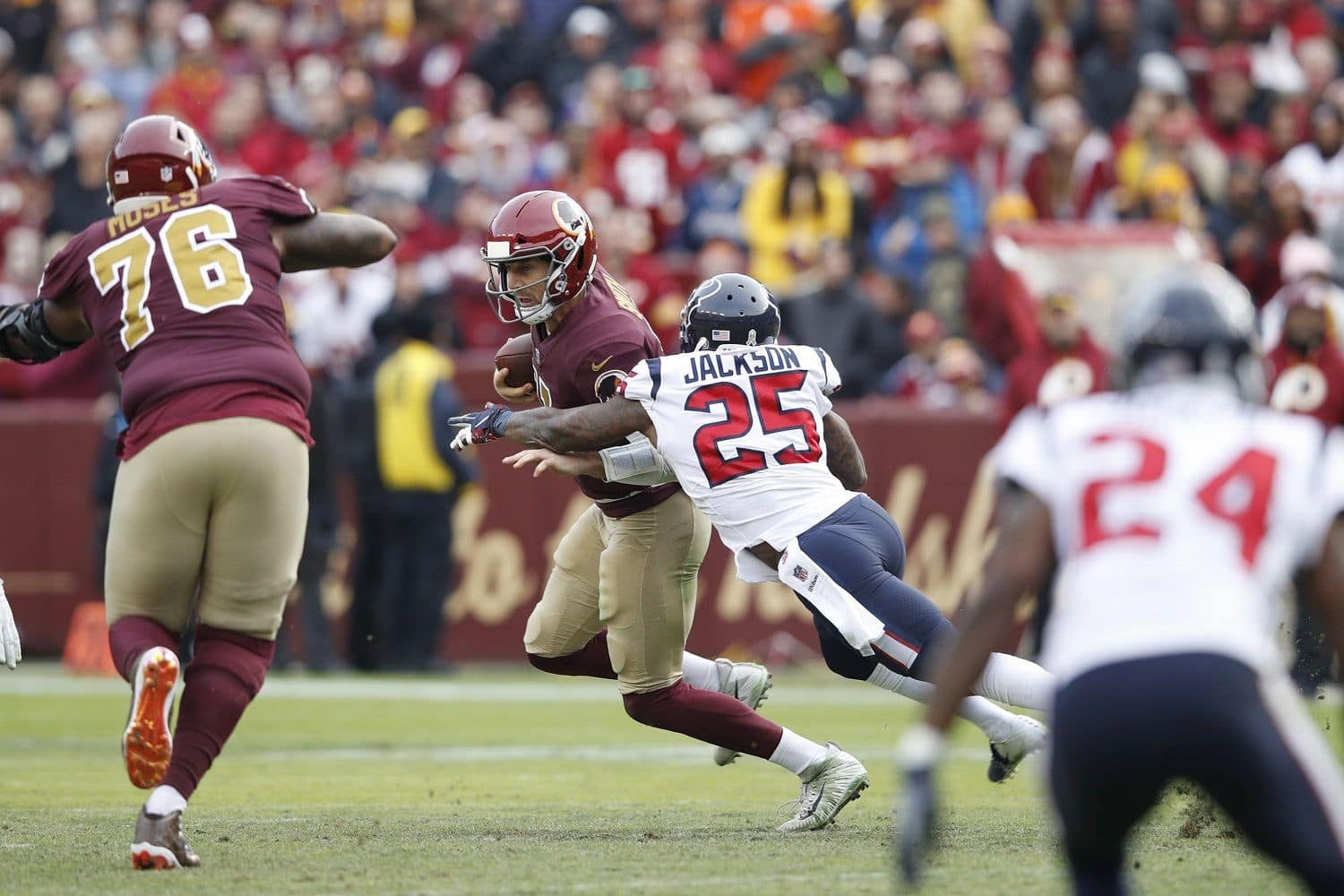 LANDOVER, MD - NOVEMBER 18: Alex Smith #11 of the Washington Redskins is sacked and injured by Kareem Jackson #25 of the Houston Texans in the third quarter of the game at FedExField on November 18, 2018 in Landover, Maryland. (Photo by Joe Robbins/Getty Images)