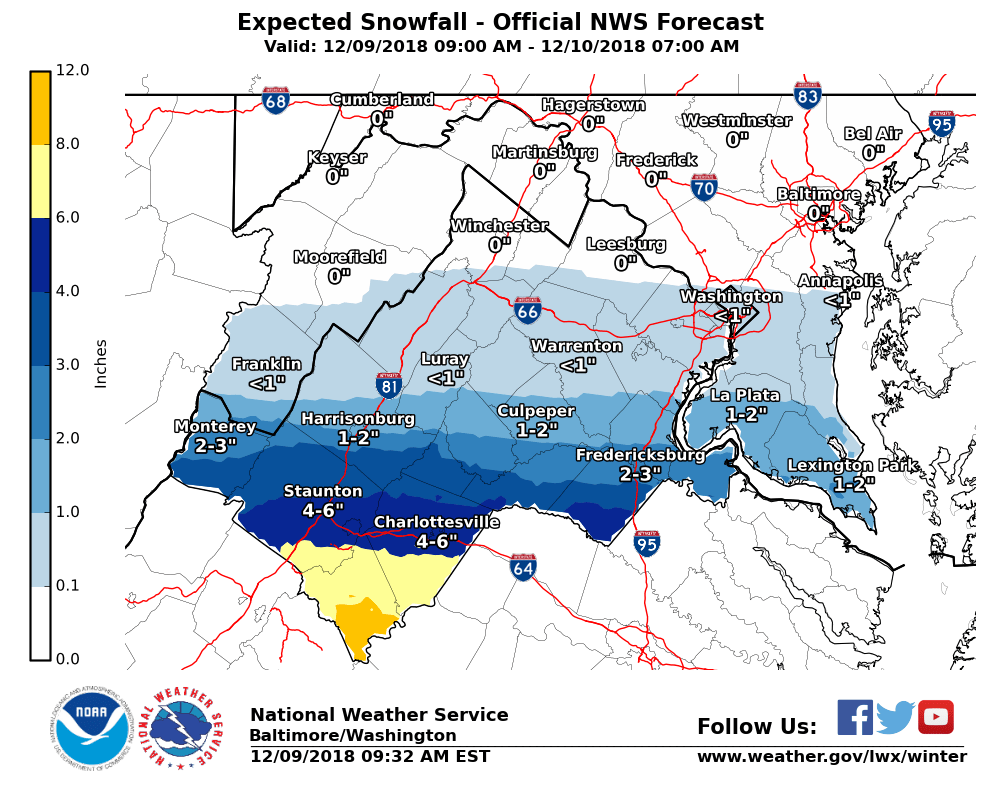 Southern Snow Storm Reaches Central Va Southern Md Wtop - Map-of-us-snowfall