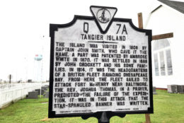 """Despite what this sign says, author Earl Swift writes in his recently published book """"Chesapeake Requiem"""" that the first confirmed white settlers didn't arrive on Tangier Island until 1778. (WTOP/Michelle Basch)"""