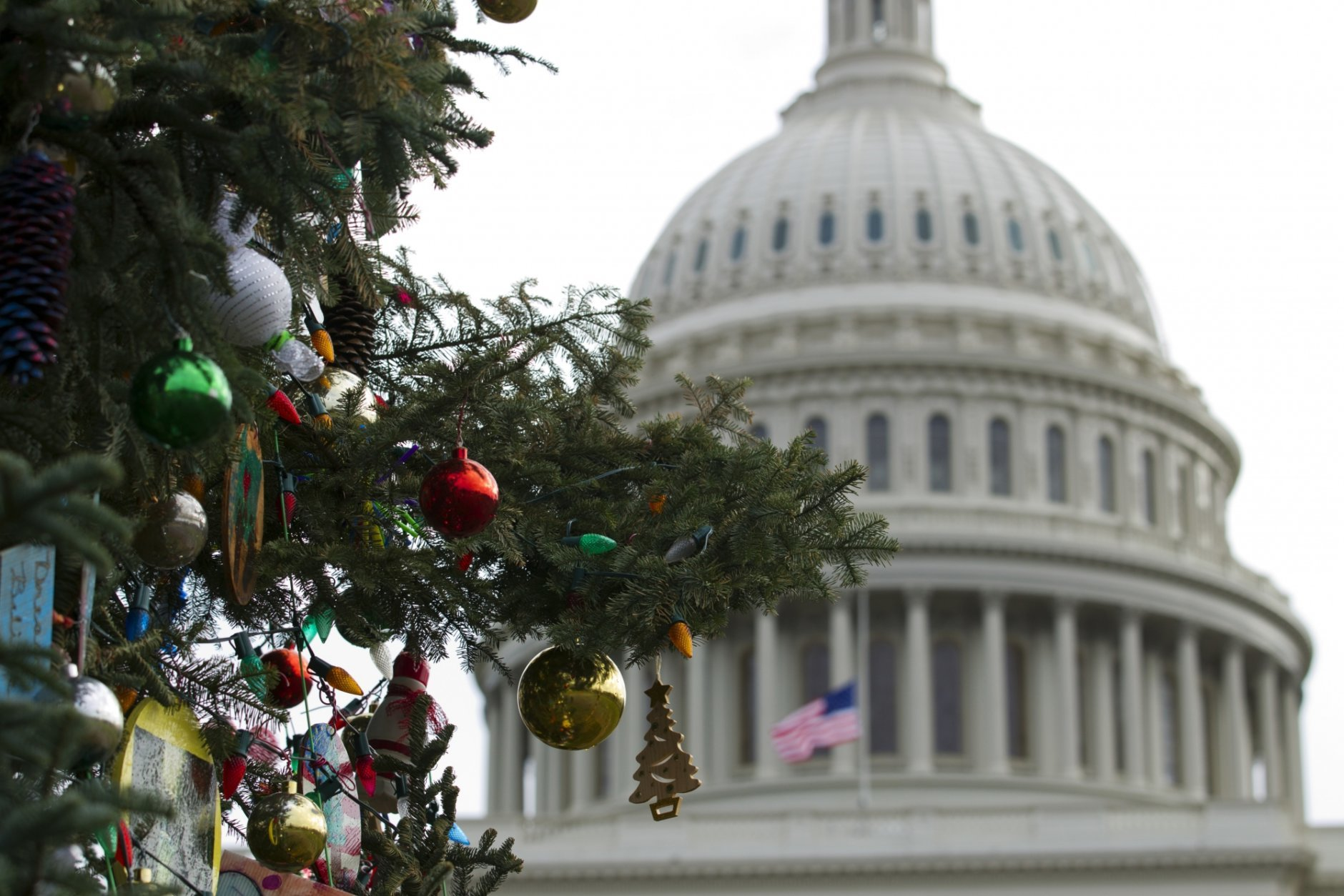 The Capitol Christmas tree decorations are seen outside of The U.S. Capitol in Washington, Friday, Dec. 21, 2018. Republican-led House approved funding for President Donald Trump's border wall in legislation that pushes the government closer to a partial government shutdown. The bill now goes to the Senate. (AP Photo/Jose Luis Magana)