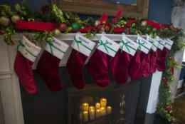Holiday decorations, including stockings, are seen at the Vice President's residence, Thursday, Dec. 6, 2018, in Washington. (AP Photo/Alex Brandon)