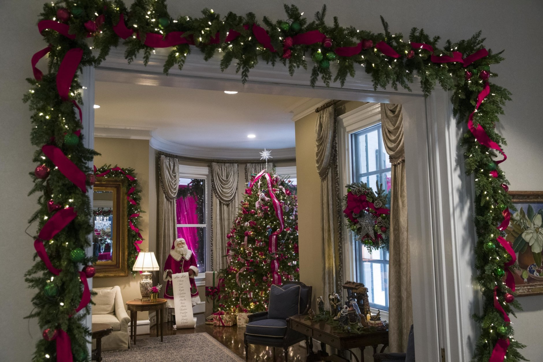 "Holiday decorations are seen at the Vice President's residence, Thursday, Dec. 6, 2018, in Washington. Christmas at Vice President Mike Pence's official residence literally jumps out of the pages of ""Twas the Night Before Christmas."" (AP Photo/Alex Brandon)"