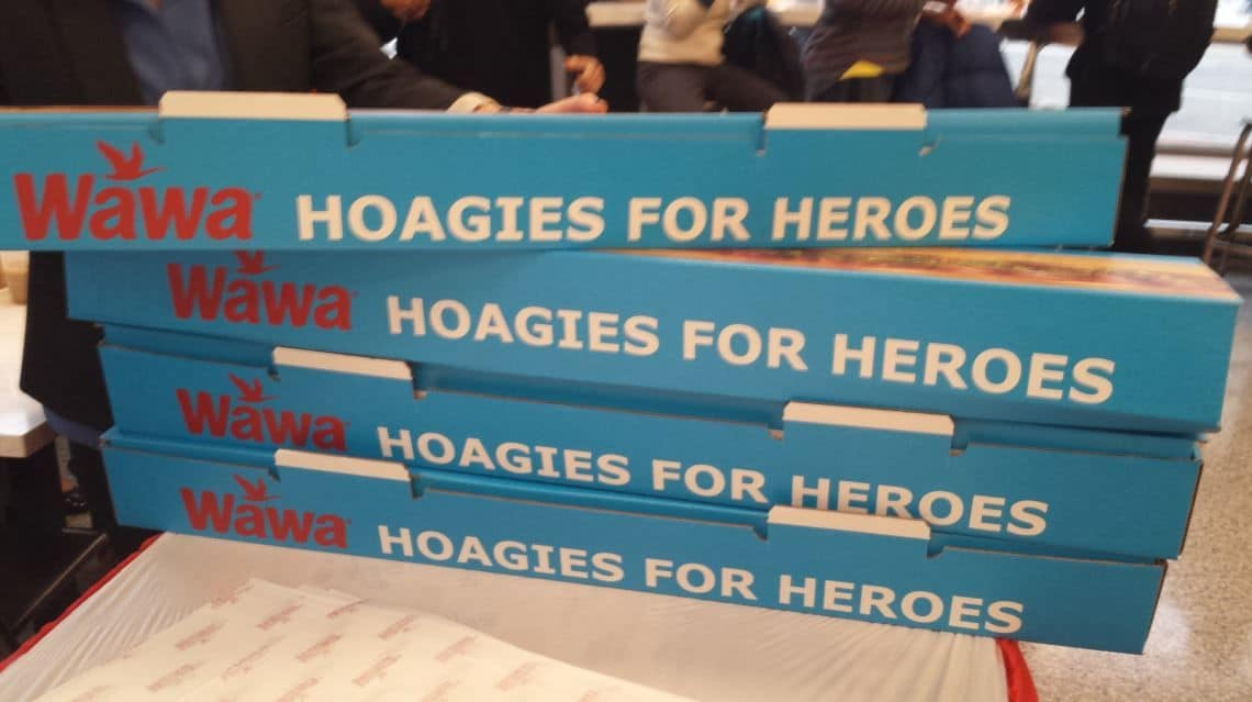 """""""Hoagies for Heroes"""" sit on the counter in WAWA's new Georgetown store. (WTOP/Matt Ritter)"""