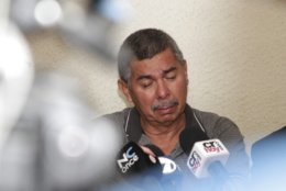 """Carlos Caceido, the father of U.S. tourist Carla Stefaniak, speaks about having to identify his daughter's body at the morgue, during a press conference in San Jose, Costa Rica, Wednesday, Dec. 5, 2018. A security guard at a Costa Rica Airbnb rental villa was arrested in the death of Stefaniak who went to the Central American country to celebrate her 36th birthday but never boarded her return flight to Florida after messaging friends that it was """"pretty sketchy"""" at her resort. (AP Photo/Enrique Martinez)"""