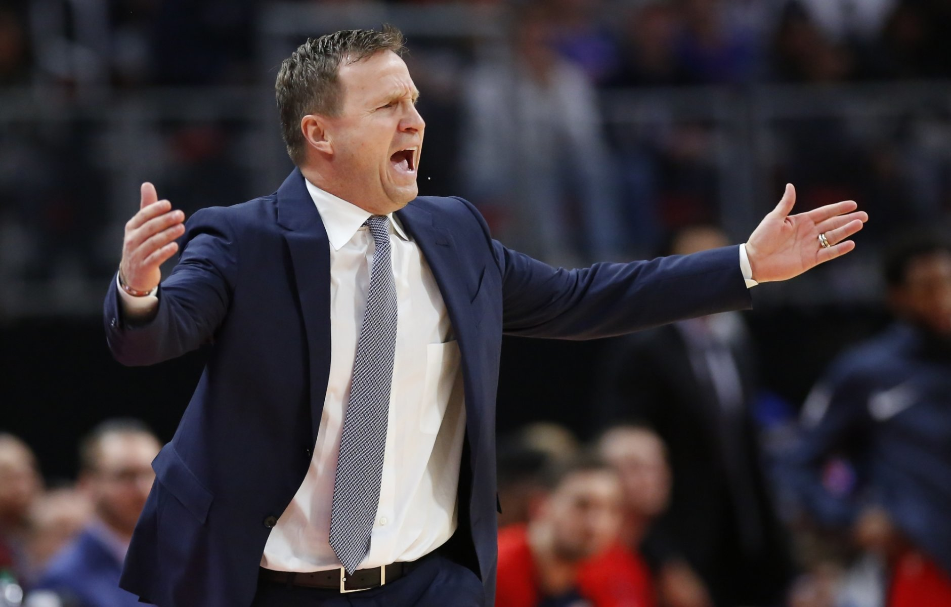 Washington Wizards head coach Scott Brooks yells out the officials during the first half of an NBA basketball game against the Detroit Pistons Wednesday, Dec. 26, 2018, in Detroit. (AP Photo/Duane Burleson)