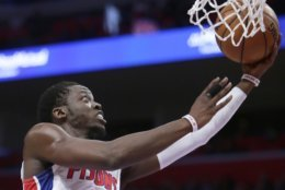 Detroit Pistons guard Reggie Jackson (1) goes to the basket against the Washington Wizards during the first half of an NBA basketball game Wednesday, Dec. 26, 2018, in Detroit. (AP Photo/Duane Burleson)