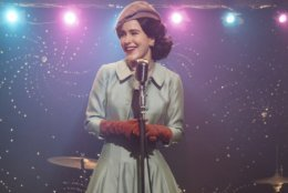 "This image released by Amazon shows Rachel Brosnahan in a scene from ""The Marvelous Mrs. Maisel."" The program was named one of the top ten TV shows of 2018 by the Associated Press. (Nicole Rivelli/Amazon via AP)"