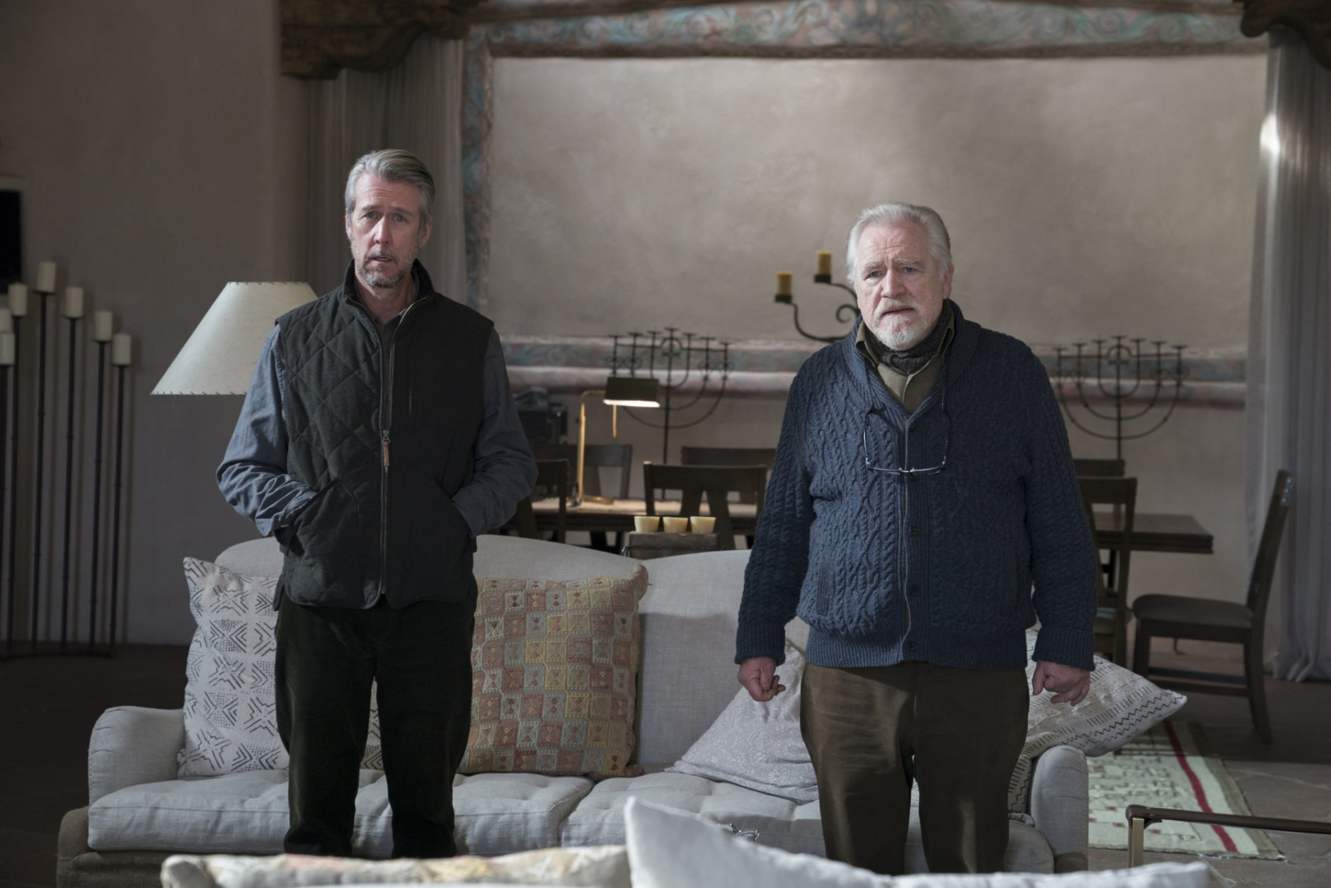 "This image released by HBO shows Alan Ruck, left, and Brian Cox in a scene from ""Succession."" The program was named one of the top ten TV shows of 2018 by the Associated Press. (Ursula Coyote/HBO via AP)"