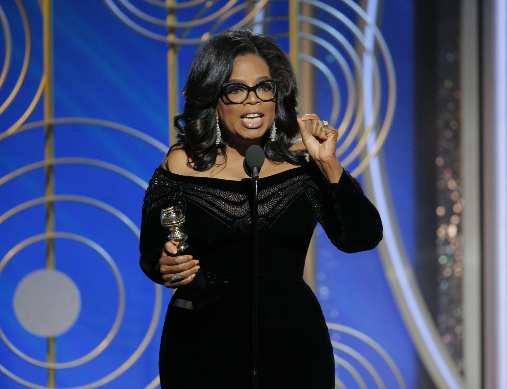 This Jan. 7, 2018 image released by NBC shows Oprah Winfrey accepting the Cecil B. DeMille Award at the 75th Annual Golden Globe Awards in Beverly Hills, Calif. Winfrey's rousing call for social justice in the name of the MeToo movement drew wild cheers in the ballroom at the Golden Globes Awards in January and reverberated across the land.  (Paul Drinkwater/NBC via AP)