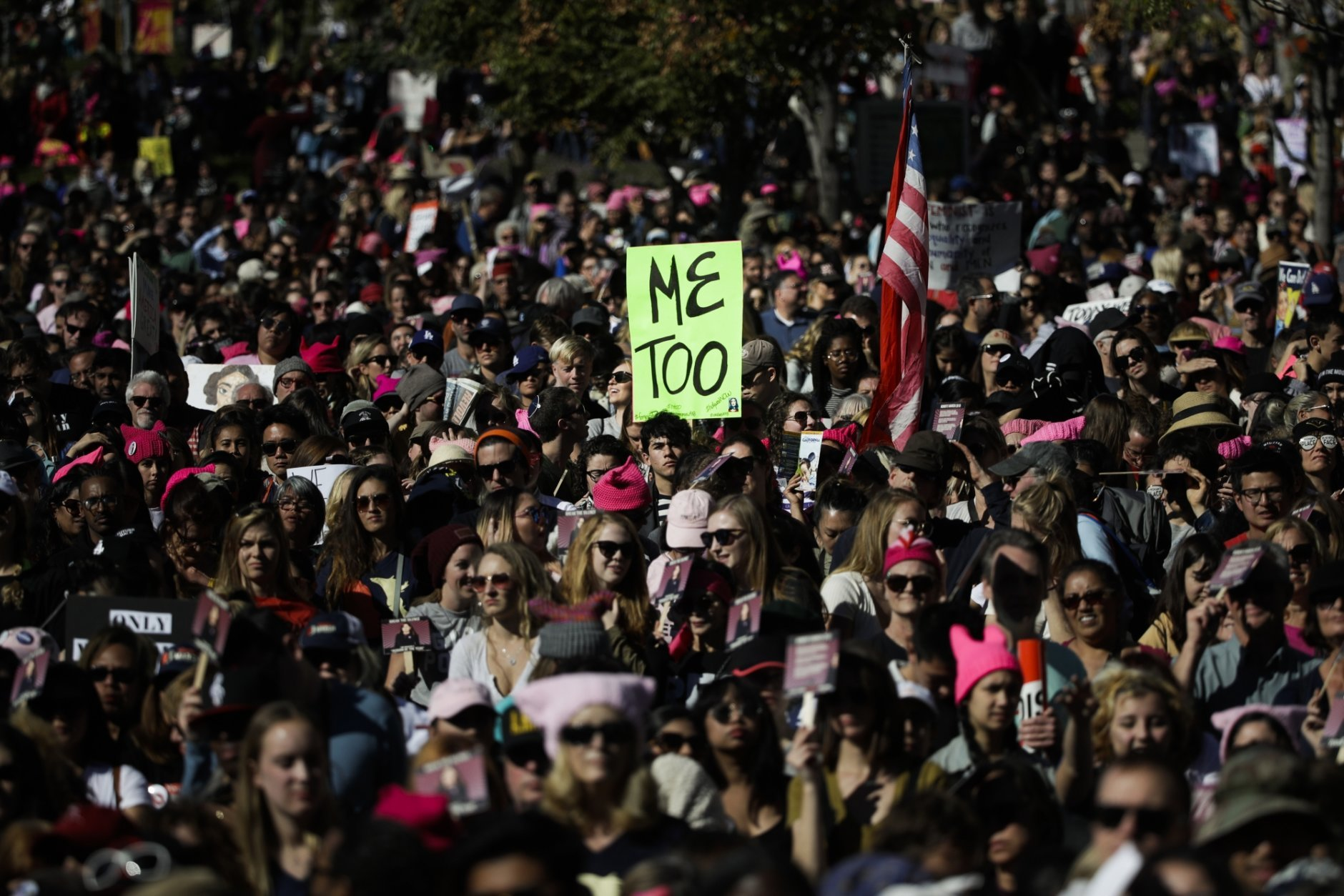 FILE - In this Saturday, Jan. 20, 2018 file photo, protesters gather at the Grand Park in Los Angeles for a Women's March against sexual violence and the policies of the Trump administration. The #MeToo movement, which surfaced late in 2017, maintained its momentum throughout 2018 as many more powerful men were forced to account for past instances of sexual assault and misconduct. (AP Photo/Jae C. Hong)