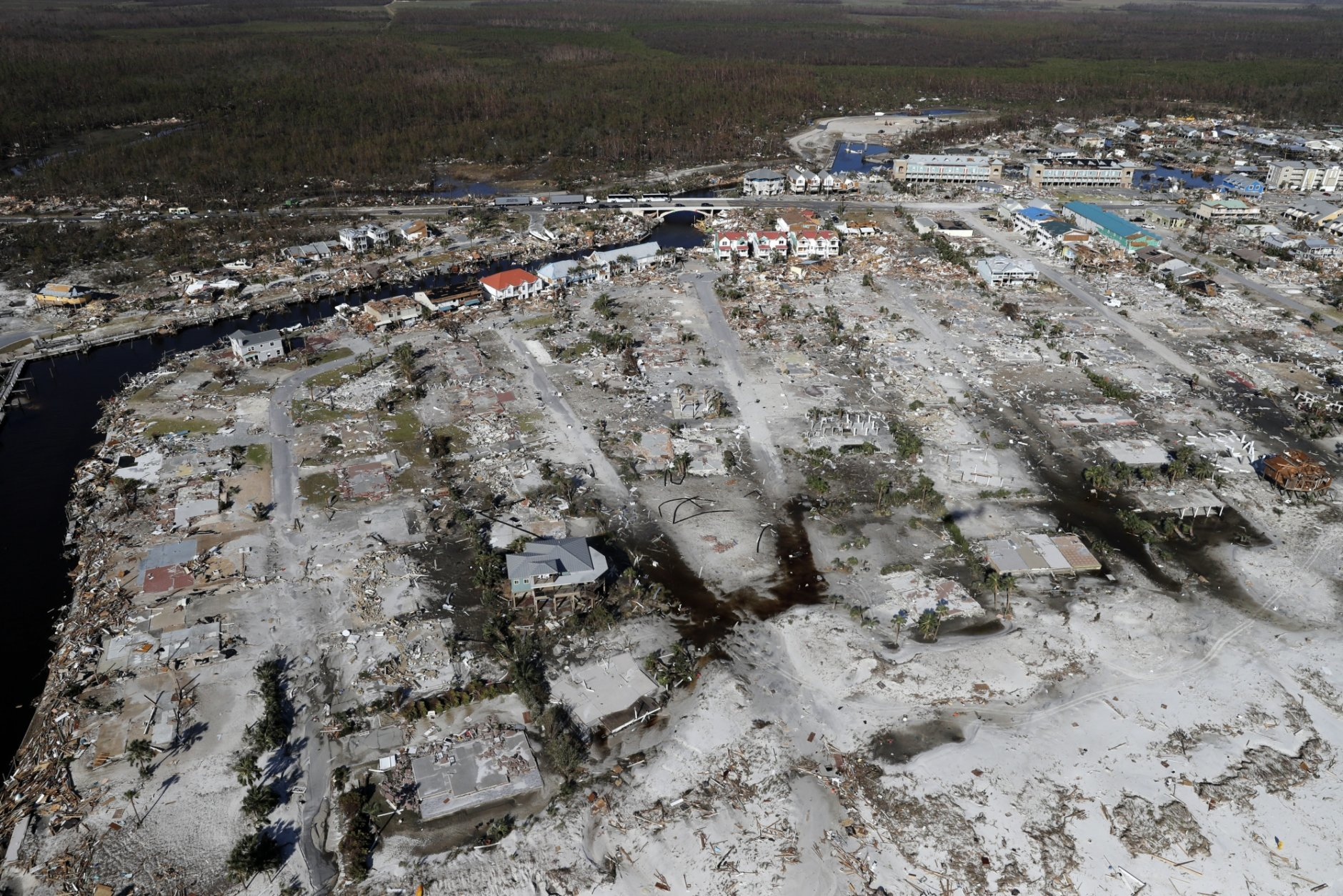 Devastation from Hurricane Michael is seen in this aerial photo over Mexico Beach, Fla., Friday, Oct. 12, 2018. (AP Photo/Gerald Herbert)