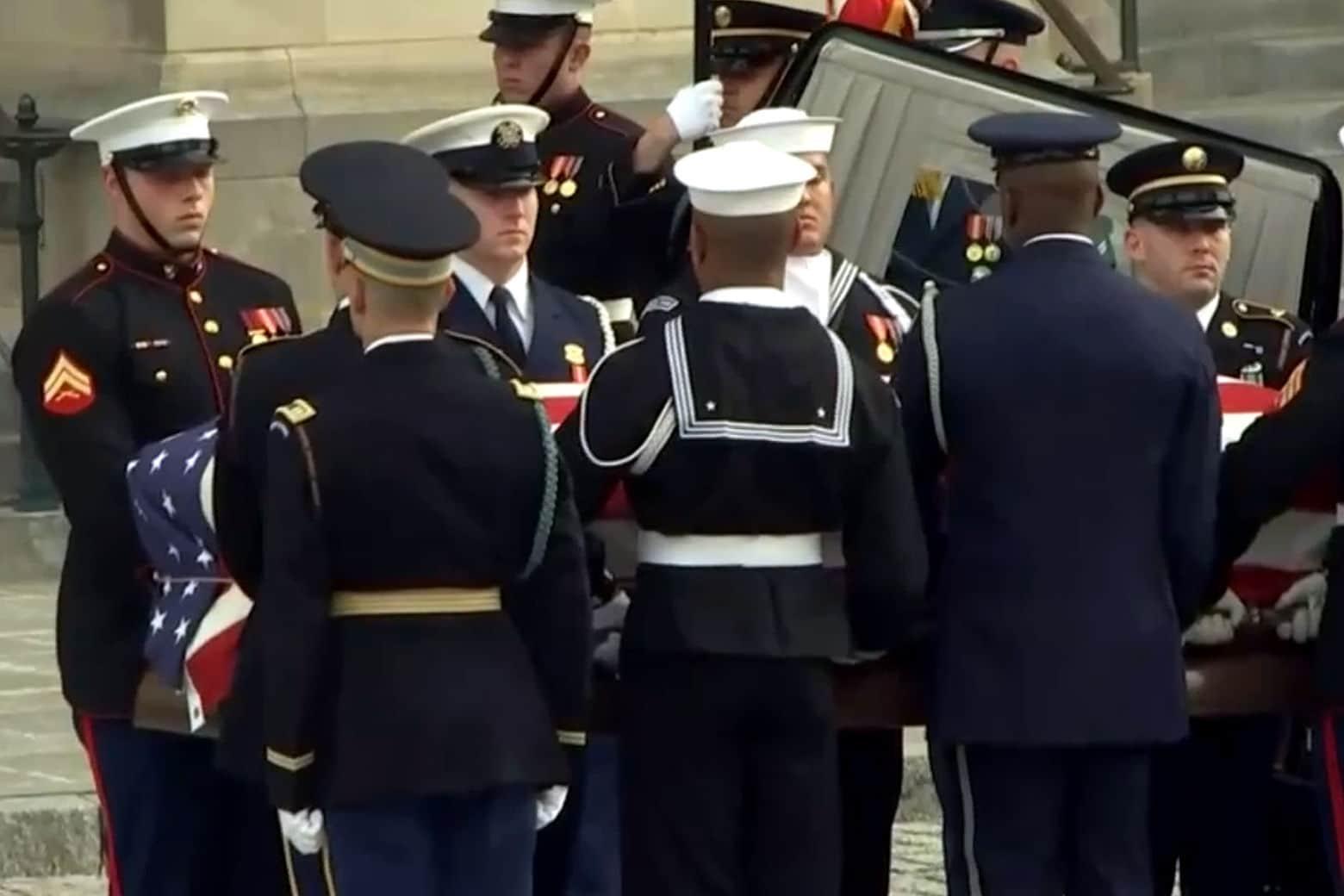 Former President George H.W. Bush's casket arrives at National Cathedral in Washington Dec. 03, 2018. (AP)