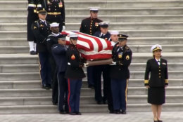 The casket carrying former President George H.W. Bush is carried down the Capitol steps Dec. 3, 2018. (AP)