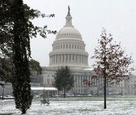 Washington gets its first taste of winter as snow collects on Capitol Hill Nov. 15, 2018. (WTOP/Mitchell Miller)