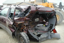 The minivan the Lang family was riding in on Nov. 27, 2001, when a reckless driver rear-ended their minivan, crushing the back half of the vehicle like an accordion. (Courtesy/ Kelly Lang)