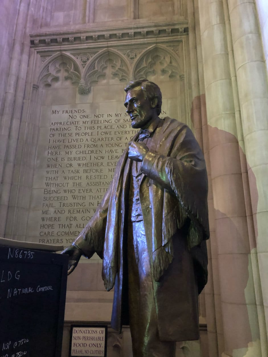 """""""Their statues — one in bronze and one in limestone — are glorious and let you know right away when you step into the space that you're going to be learning about Christian faith, but also about what we hold dear and treasure in American history,"""" Hollerith said. (WTOP/Kristi King)"""