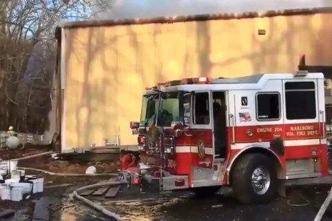 VIDEO: Fire tears through warehouse in Upper Marlboro