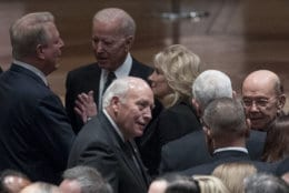 Former Vice President Al Gore (L), speaks with former Vice President Joe Biden (2nd-L), and his wife Jill Biden (C), as former Vice President Dick Cheney, bottom center, speaks with Commerce Secretary Wilbur Ross, right, before a State Funeral for former President George H.W. Bush at the National Cathedral, December 5, 2018 in Washington, DC. President Bush will be buried at his final resting place at the George H.W. Bush Presidential Library at Texas A&M University in College Station, Texas. A WWII combat veteran, Bush served as a member of Congress from Texas, ambassador to the United Nations, director of the CIA, vice president and 41st president of the United States. (Photo by Andrew Harnik-Pool/Getty  Images)