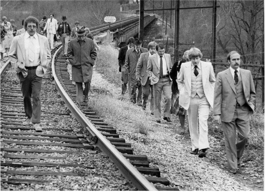 During 1980 murder trial of Stephen Epperly in the death of Gina Renee Hall, Epperly and Pulaski County, Virginia jurors visited the railroad track near where Hall's car was found. (Photo Chris Owyoung)