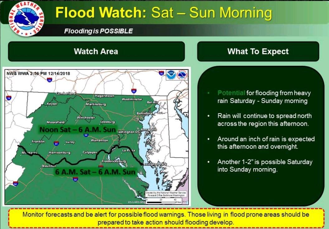 A flood watch is in effect for much of the area until late Saturday night. (Courtesy National Weather Service)