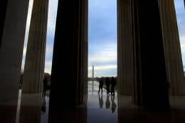 Visitors tour the Lincoln Memorial in Washington, Tuesday, Jan. 1, 2019, as a partial government shutdown stretches into its third week. A high-stakes move to reopen the government will be the first big battle between Nancy Pelosi and President Donald Trump as Democrats come into control of the House. The new Democratic House majority gavels into session this week with legislation to end the government shutdown. Pelosi and Trump both think they have public sentiment on their side in the battle over Trump's promised U.S.-Mexico border wall. (AP Photo/Jose Luis Magana)
