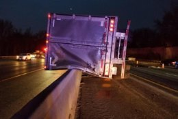 One person was critically injured Friday morning after a tractor trailer overturned. (Courtesy Maryland State Highway Administration)