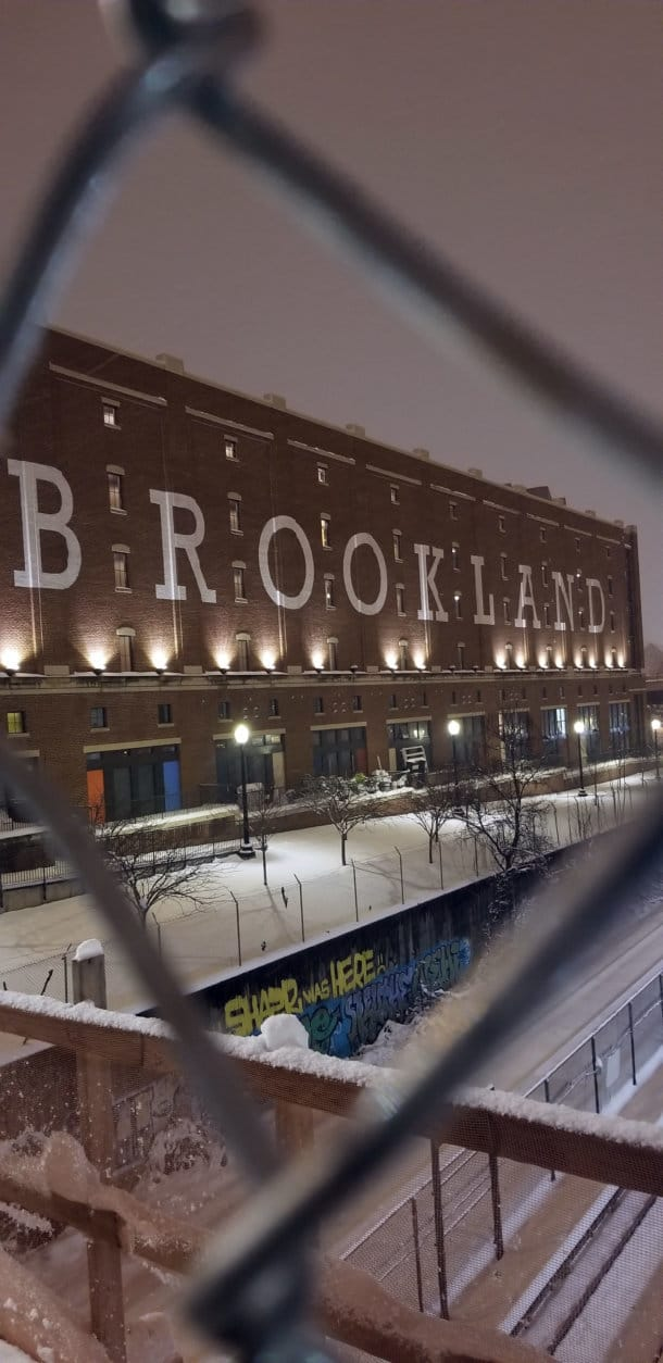 Snow collects in Brookland. (WTOP/Jared Ruderman)
