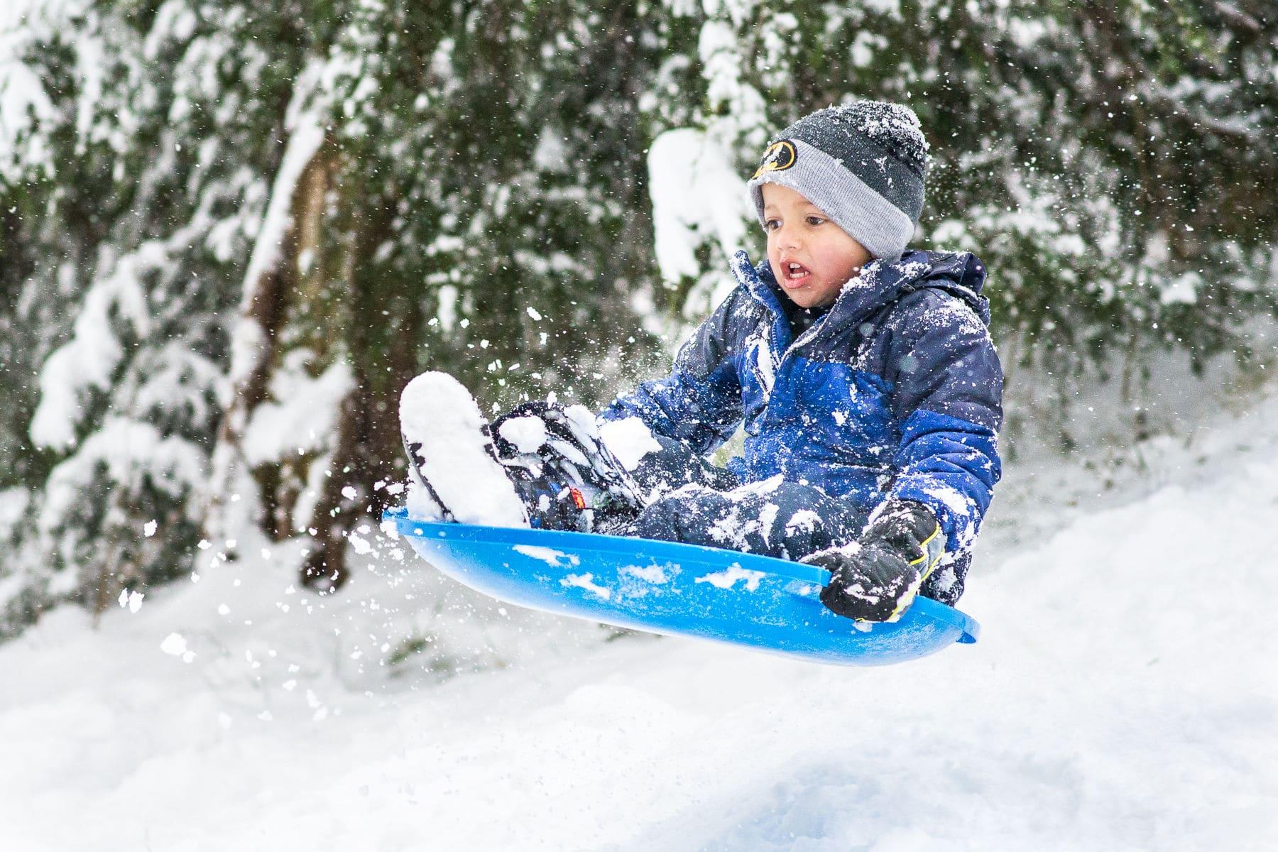 Quinn Brogan of Ashburn, Virginia, catches some airtime while enjoying the snow Sunday. (Courtesy Doug Heath)