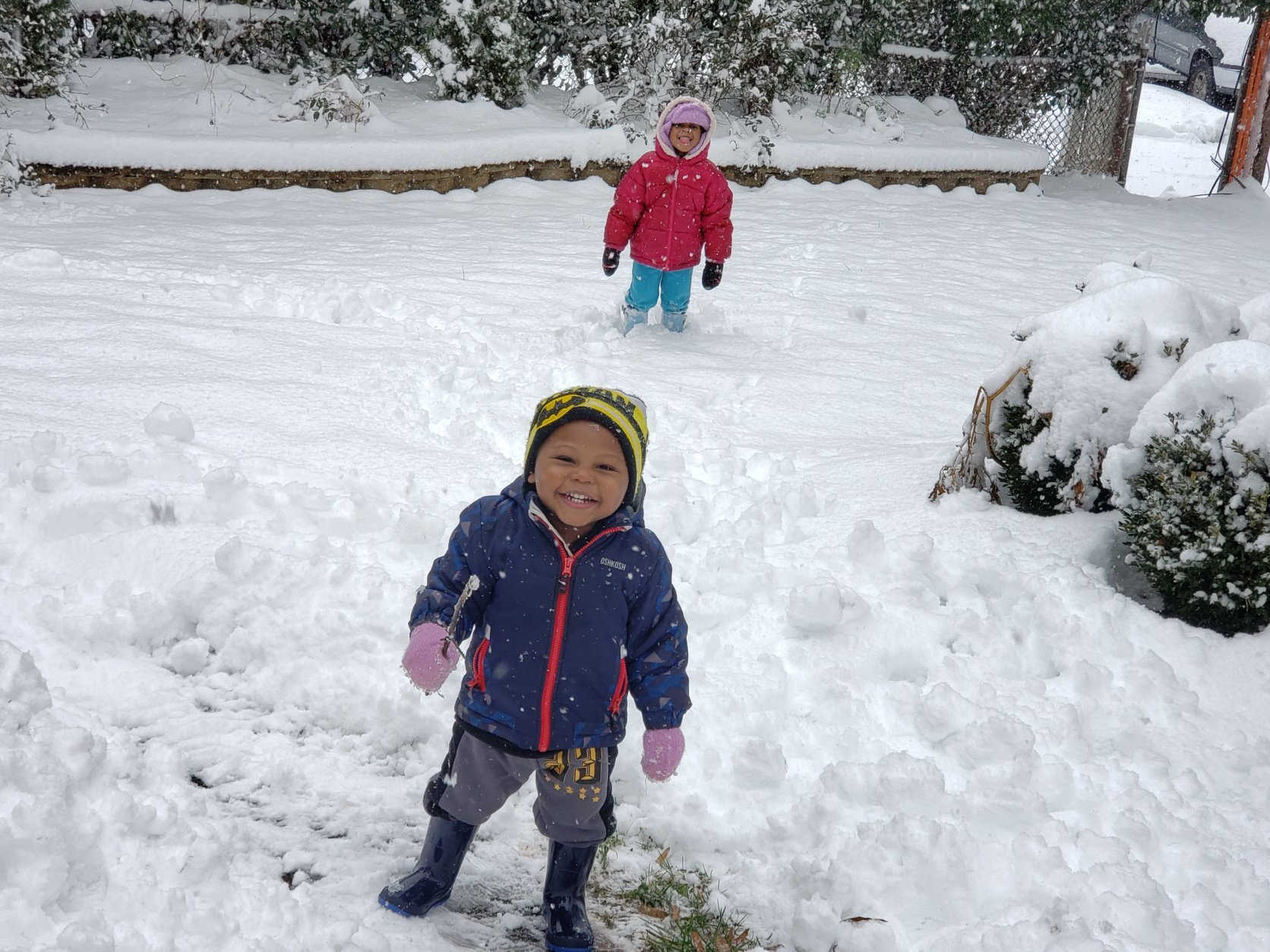 Young kids play in the snow Monday, Jan. 14, 2019. (Courtesy Mishell Dickson)