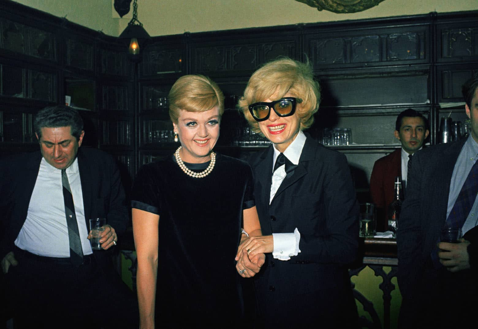 Anglea Lansbury (left) with Carol Channing at a party at Sardis in New York, March 16, 1967. (AP Photo/John Duricka)