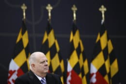 Maryland Gov. Larry Hogan sits onstage during his inauguration ceremony, Wednesday, Jan. 16, 2019, in Annapolis, Md. Hogan is the first Republican governor to be re-elected in the state since the 1950s. (AP Photo/Patrick Semansky)