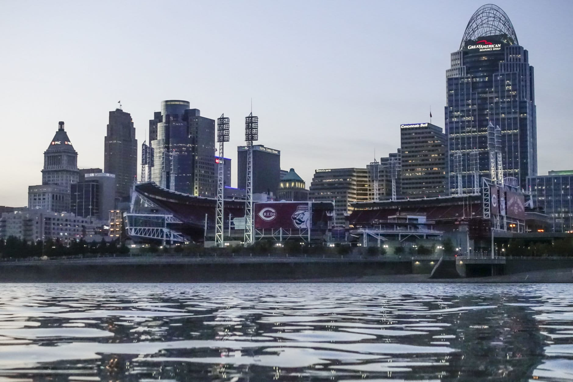 Great American Ballpark, home to Major League Baseball's Cincinnati Reds, stands on the banks of the Ohio River, Wednesday, Oct. 4, 2017, in downtown Cincinnati. (AP Photo/John Minchillo)