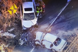 The two-vehicle crash happened just before 8 a.m. in the 28000 block of Ridge Road at Kemptown Road in Damascus, Maryland. (Courtesy NBC Washington)
