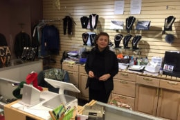 "Moj Foroughi's store, 4-U, is stocked full of clothes, jewelry and other accessories. But it was empty of any customers.""Days I open and I just close with zero sales,"" she lamented. ""It's been bad."" (WTOP/John Domen)"