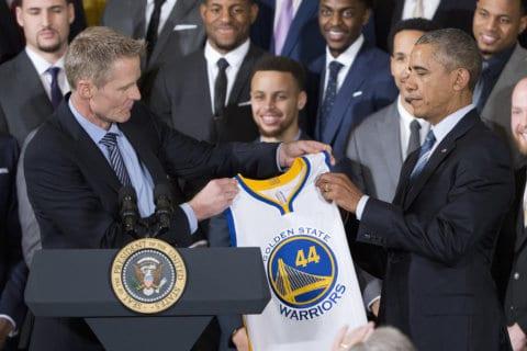 Golden State Warriors visit former President Barack Obama