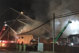 """It took several hours for firefighters to get the fire under control and the """"deep seated"""" fire continued to burn and smolder through the night, Prince George's County Fire EMS spokesman Mike Brady said. (Courtesy Prince George's County Fire Department)"""