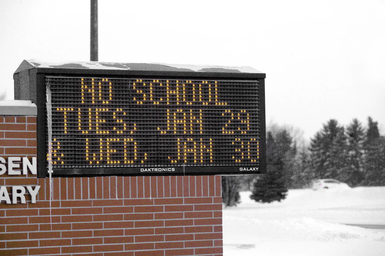 Moorhead, Minn. area elementary school electronic sign shows cancellation of school because of frigid temperature Tuesday, Jan. 29, 2019. Daytime temperatures in the Fargo-Moorhead area were near -20F as Wednesday weather will be even colder. (AP Photo/Bruce Crummy)