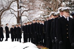 Midshipmen line up at Gov. Larry Hogan's inauguration. (WTOP/Kate Ryan)