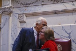 Mike Miller with Senator Nancy King after his announcement on the floor of the Senate. (WTOP/Kate Ryan)