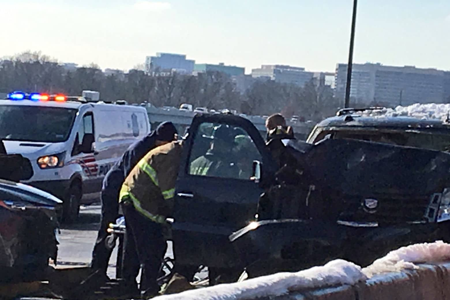 Four people were injured after a crash on the 14th Street Bridge on Tuesday. (Courtesy D.C. Fire and EMS)